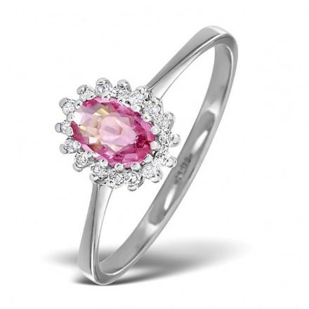18K White Gold 0.08ct Diamond & 6mm x 4mm Pink Sapphire Ring, DCR08-PSW